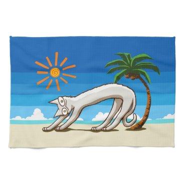 Beach Themed Summer Beach Tropical Cat Hand Towel
