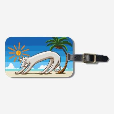 Beach Themed Summer Beach Tropical Cat Luggage Tag