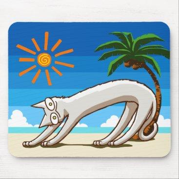 Beach Themed Summer Beach Tropical Cat Mouse Pad