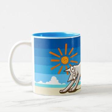 Beach Themed Summer Beach Tropical Cat Two-Tone Coffee Mug