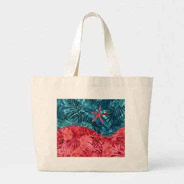 Beach Themed Summer Beach Tropical Pattern Large Tote Bag