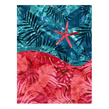 Beach Themed Summer Beach Tropical Pattern Postcard