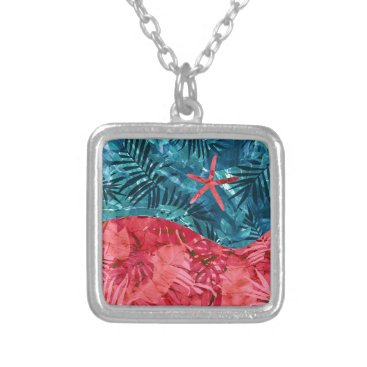 Beach Themed Summer Beach Tropical Pattern Silver Plated Necklace