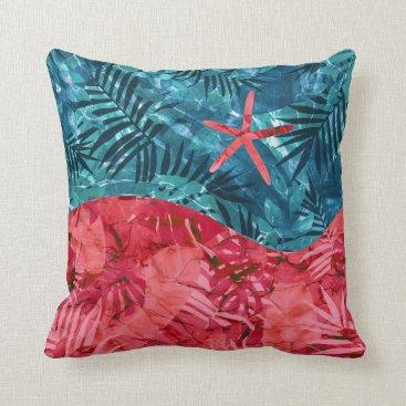 Beach Themed Summer Beach Tropical Pattern Throw Pillow