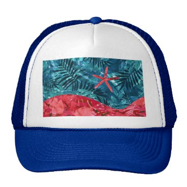 Beach Themed Summer Beach Tropical Pattern Trucker Hat