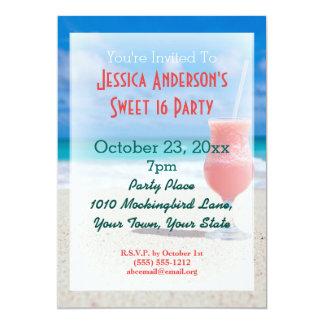 Summer Beach Tropical Sweet 16 Birthday Card