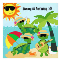 Summer Beach Turtles Swimming Birthday Invitation