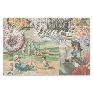 """Summer beach vintage retro victorian 10"""" x 15"""" tissue paper"""
