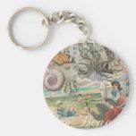 Summer beach vintage retro victorian basic round button keychain