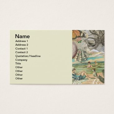 Beach Themed Summer beach vintage retro victorian business card