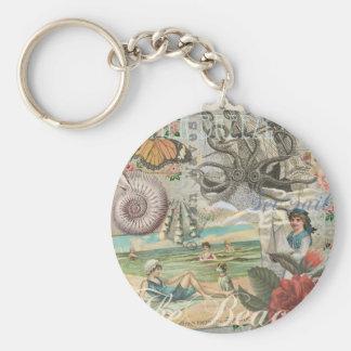 Summer beach vintage retro victorian keychain