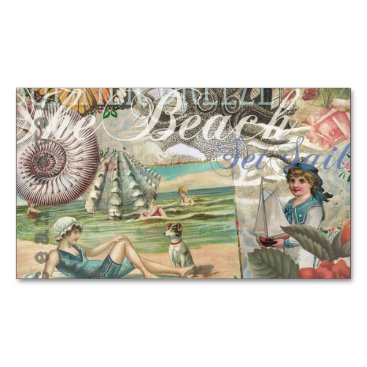 Beach Themed Summer beach vintage retro victorian magnetic business card