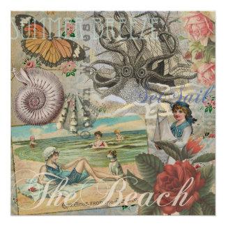 Summer beach vintage retro victorian poster