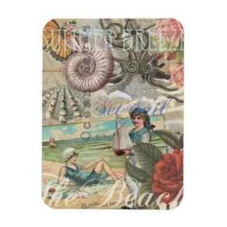 Summer beach vintage retro victorian rectangular photo magnet
