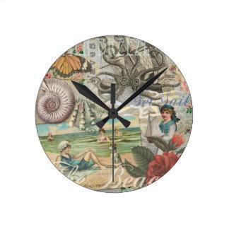 Summer beach vintage retro victorian round clock