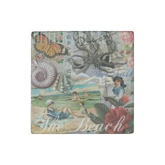 Summer beach vintage retro victorian stone magnet