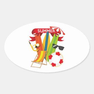 Summer Beach Watersports Oval Sticker