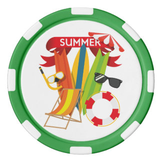 Summer Beach Watersports Poker Chip Set