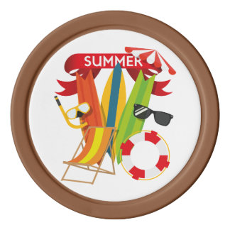 Summer Beach Watersports Poker Chips Set
