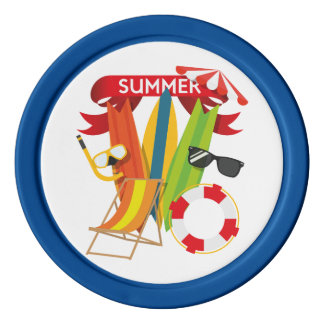 Summer Beach Watersports Set Of Poker Chips