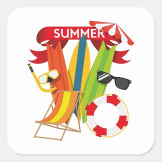 Summer Beach Watersports Square Sticker