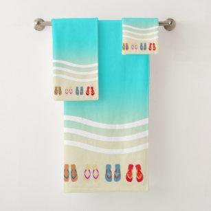 Summer Beach Waves Flip Flops Bath Towel Set