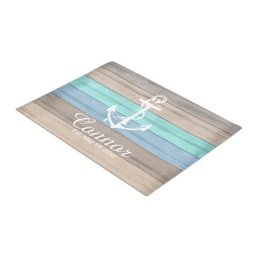 Beach Themed Summer Beach Wood Nautical Stripe Doormat | Zazzle