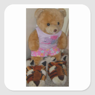 """Summer Bear in Tiger Shoes""  CricketDiane Square Sticker"