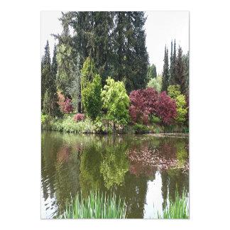 Summer beautiful botanical garden landscape. magnetic card