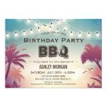 Summer Birthday BBQ Party Palm Tree String Lights Card