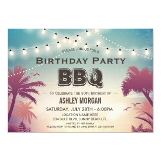 Summer Birthday BBQ Party Palm Tree String Lights Invitation