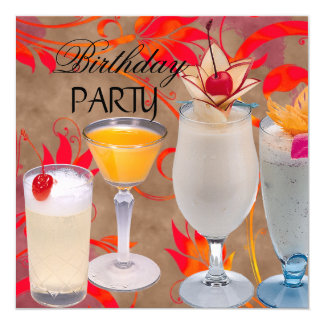 Summer Birthday Party Cocktails Tropical Invitation