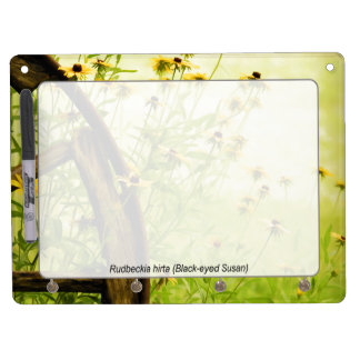Summer Black-Eyed Susan and Wagon Wheel Photo Dry Erase Board With Keychain Holder