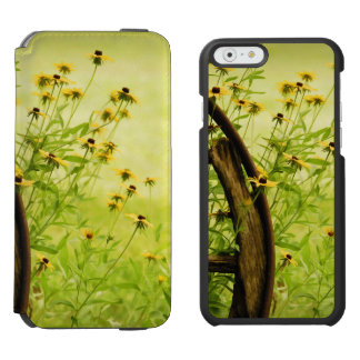 Summer Black-Eyed Susan and Wagon Wheel Photo iPhone 6/6s Wallet Case