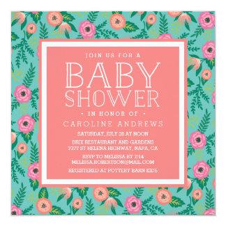 Summer Blooms Baby Shower Invitation