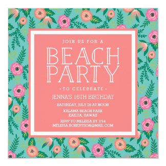 Summer Blooms Beach Party Invitation