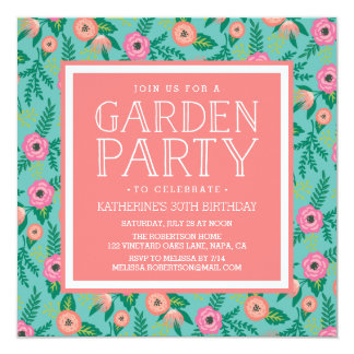 Summer Blooms Garden Party Invitation