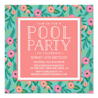 Summer Blooms Pool Party Invitation