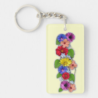 Summer Blooms Single-Sided Rectangular Acrylic Keychain