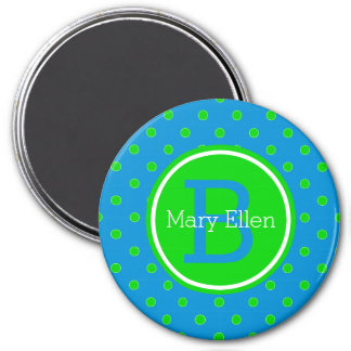 Summer Blue and Green Polka Dot Monogram Magnet