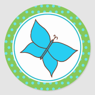 Summer Blue Butterfly Party Stickers