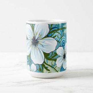 Summer Blue Floral & Butterflies Classic White Coffee Mug