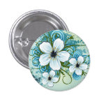 Summer Blue Floral & Butterflies Pinback Button