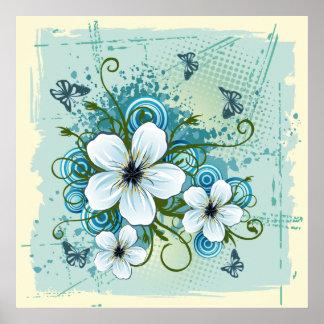 Summer Blue Floral & Butterflies Poster