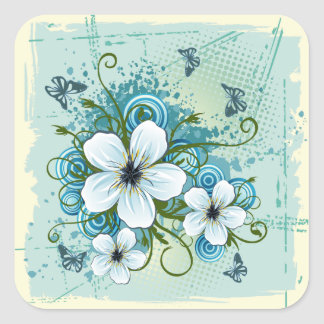 Summer Blue Floral & Butterflies Square Sticker