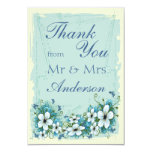 Summer Blue Floral & Butterflies Thank You Card
