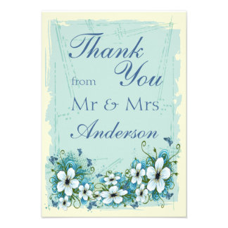 Summer Blue Floral Butterflies Thank You Personalized Announcements