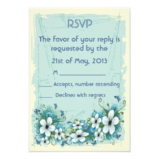Summer Blue Floral Butterflies Wedding RSVP Custom Invite