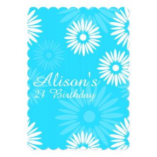 Summer Blue flowers Birthday Party Invitation