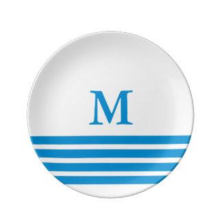 Summer Blue Four Stripe Monogram on White Plate